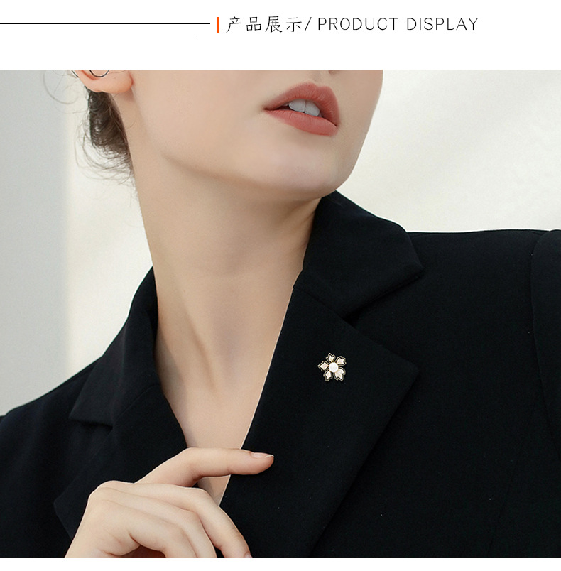 High-end petal pearl brooch spur pin micro-diamond female corsage fashion pin NHDO197330