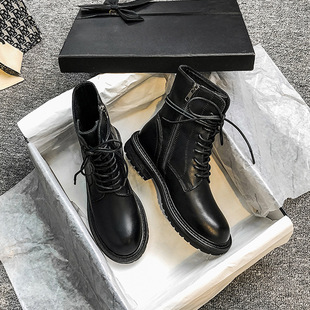 Ann Martin boots women 2021 British style handsome motorcycle boots thick-soled knight boots lace-up thick heel ankle boots ankle boots