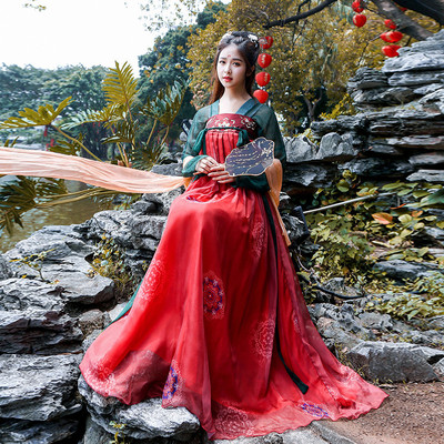 Hanfu women adult traditional ancient country super fairy elegant heavy industry embroidery breast length Ru skirt