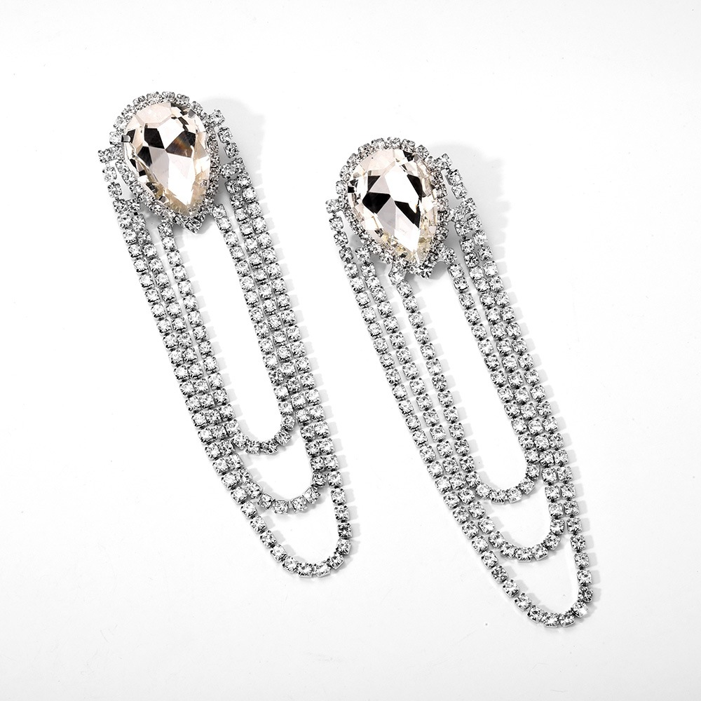 New fashion claw chain earrings exaggerated glass diamond long tassel earrings women NHMD204667