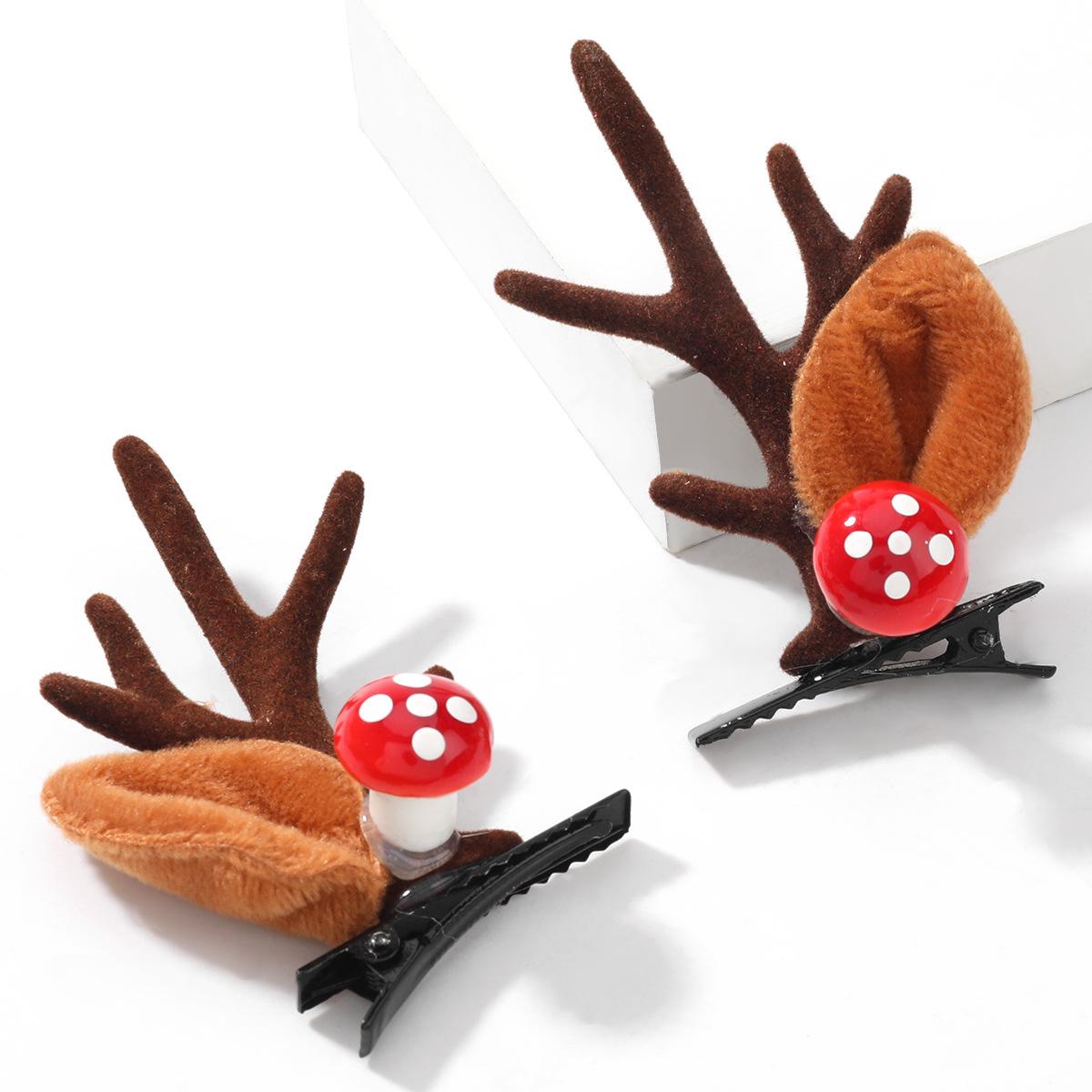 Christmas  Mushroom Flannel Small Antler Pair Chuck  Hairpin NHJE264746