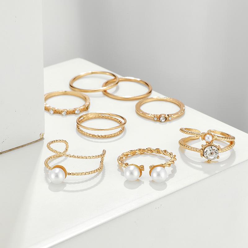 Fashion New Simple Ring Set Pearl Open Diamond Ring Set NHGY199755