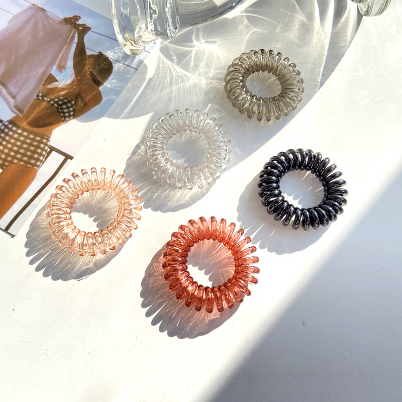 Transparent Color Phone Cord Hair ring  NHPJ280364
