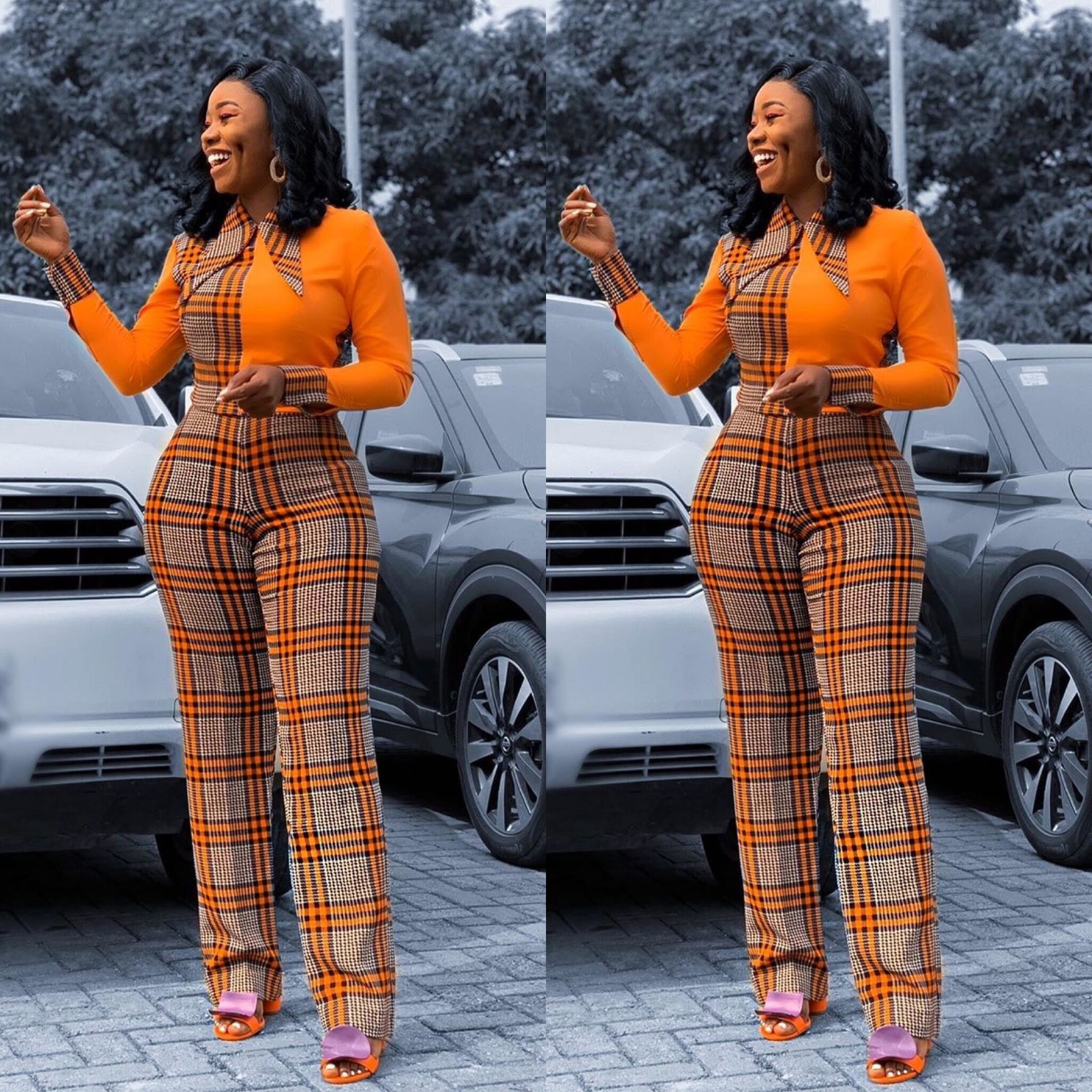 Manufacturers direct African mothers to amazon hot style temperamentally-checked print jumpsuit with long sleeves