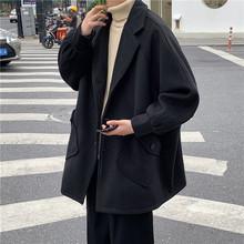 港风男装2020秋冬季中长款毛呢大衣男宽松加厚学生呢子外套风衣潮