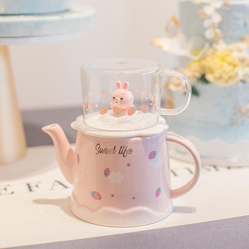 可爱陶瓷印花冷水壶家用客厅凉水壶玻璃茶杯套装耐热耐高温喝茶壶