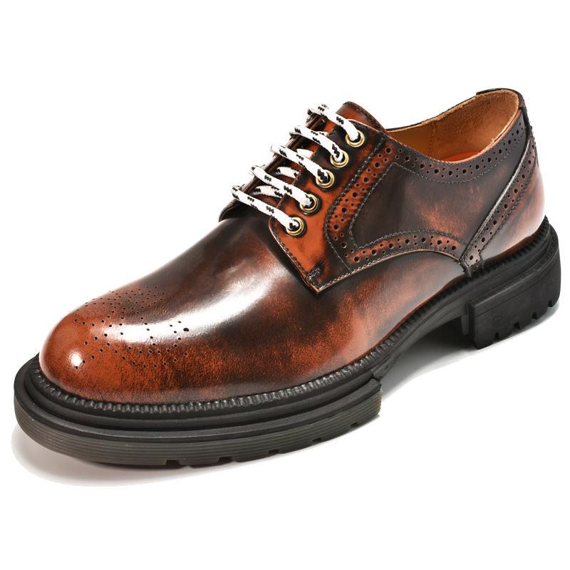 2021增高皮鞋男士商务正装韩版厚底真皮男鞋冬季新款5cm英伦男款
