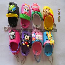 创意3D饰品小鞋子钥匙扣仿真洞洞鞋钥匙链pvc立体托跟鞋钥匙挂件