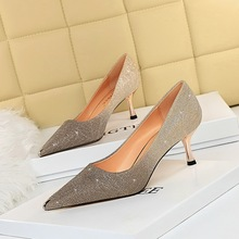 6826-a9 European and American fashion sexy banquet women's shoes slim heel high heel shallow mouth sparkle Sequin metal pointed single shoes