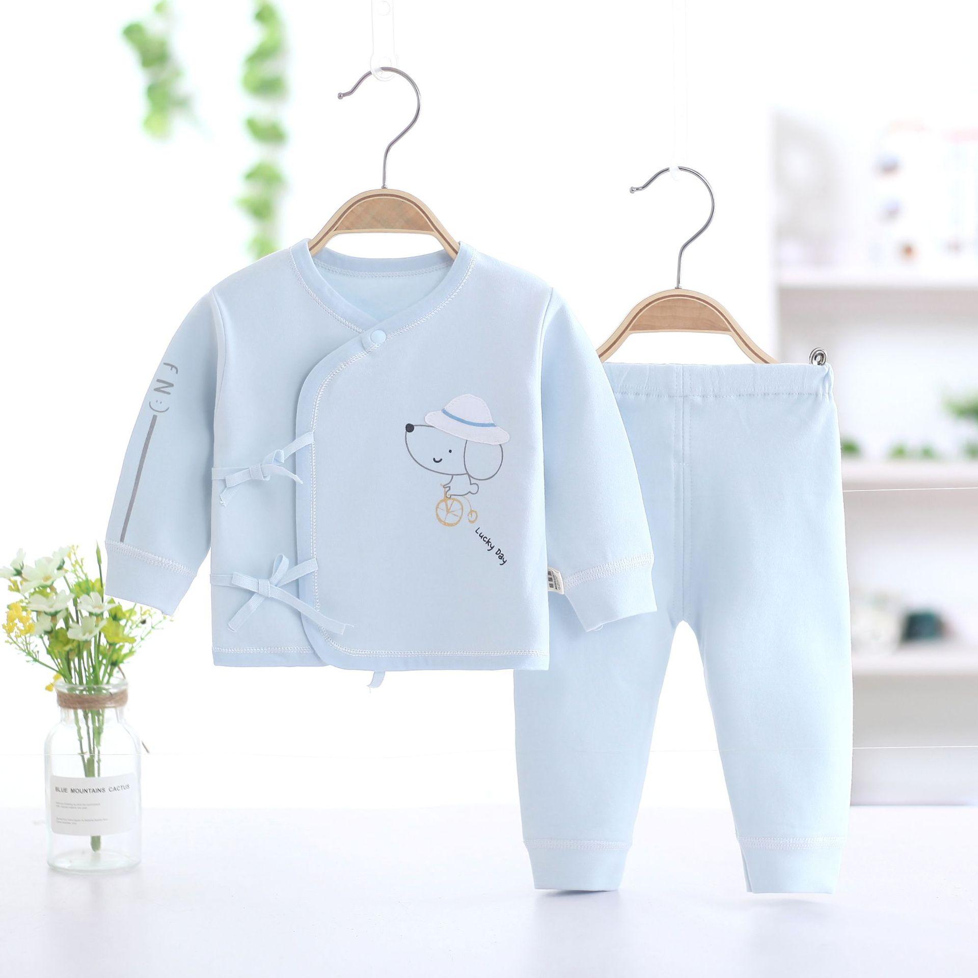 春秋款新生儿宝宝套舒绒棉初生宝宝偏襟系带套装冬婴幼儿两件套