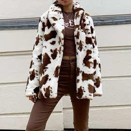 2020秋冬ins欧美女装西装领单排两粒扣奶牛撞色长袖毛毛外套上衣