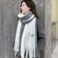 圍巾女 冬季新款韓版長款披肩復古拼色流蘇仿羊絨圍巾 拼色圍巾