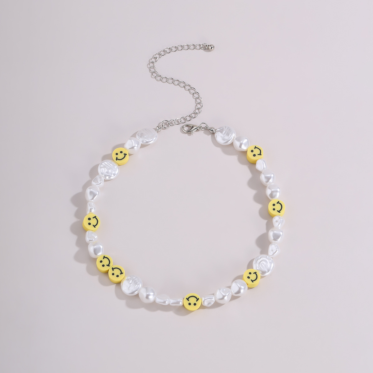 retro baroque pearl clavicle simple trendy smiley face necklace for women NHXR260663