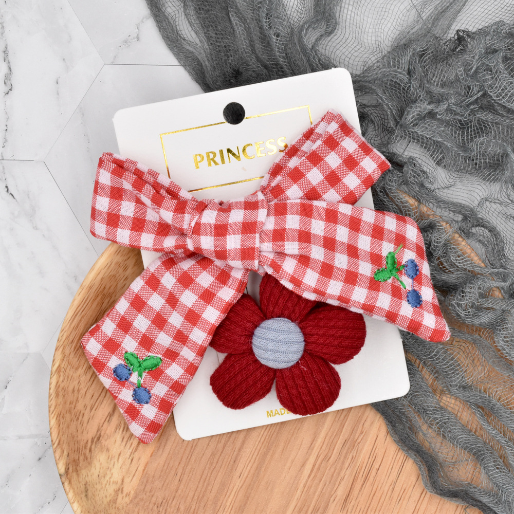 knitting flower bow embroidery plaid hairpin NHCL280658