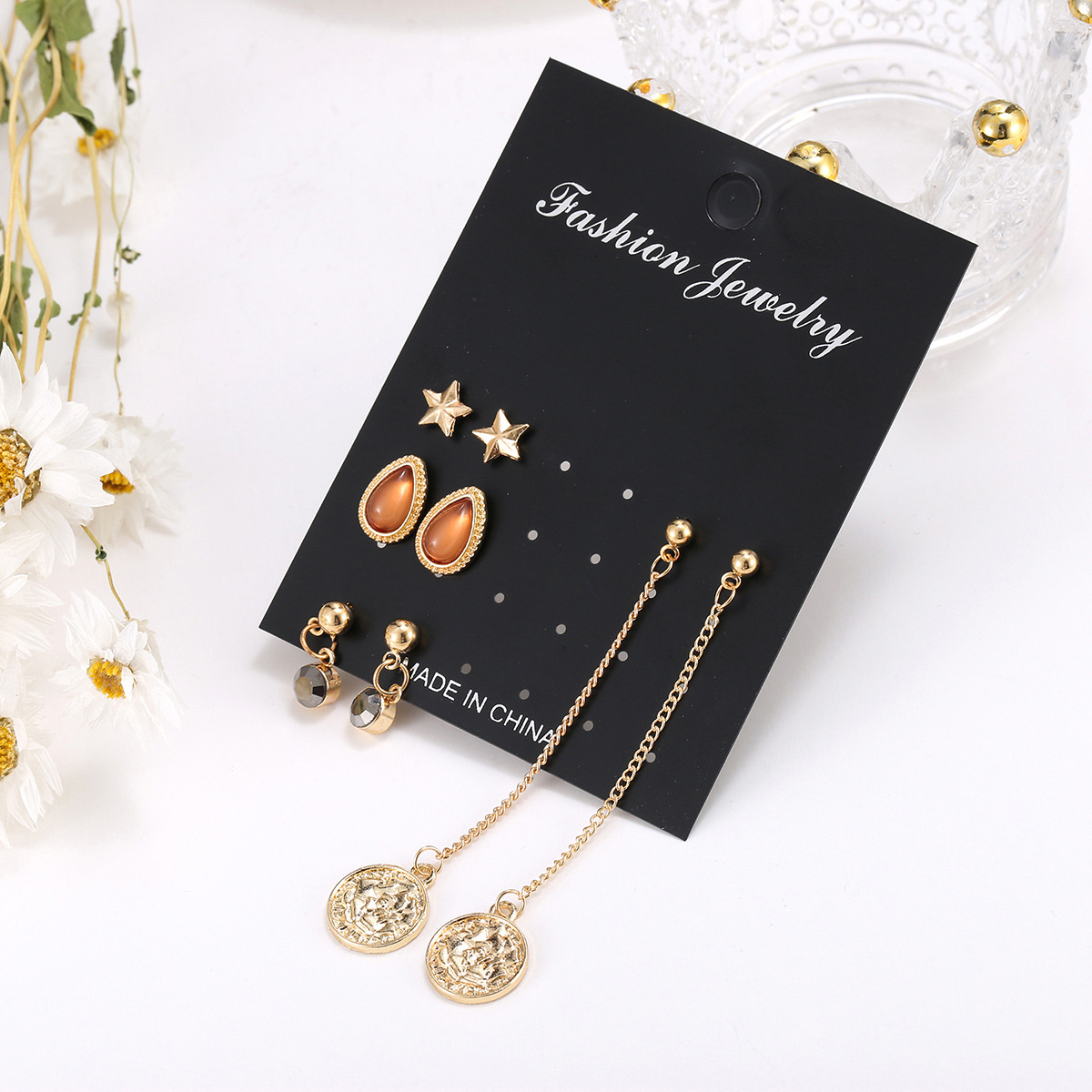 jewelry earrings new bohemian black diamond long retro star 4 pairs of earrings set combination wholesale nihaojewelry NHSD229224