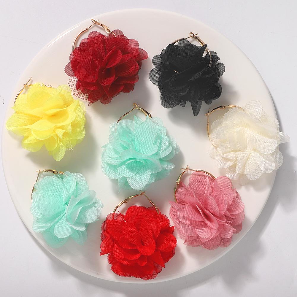 Korea new fashion hard yarn flower earrings exquisite ear jewelry wholesale NHJQ200943