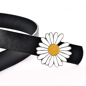 ខ្សែក្រវ៉ាត់នារី Women Casual Small Daisy Flower Drip Oil Buckle Belt PZ671746