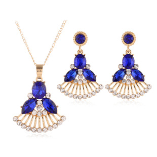 Bridal jewelry set jewelry set European and American necklace set cross-border e-commerce crystal glass necklace earrings