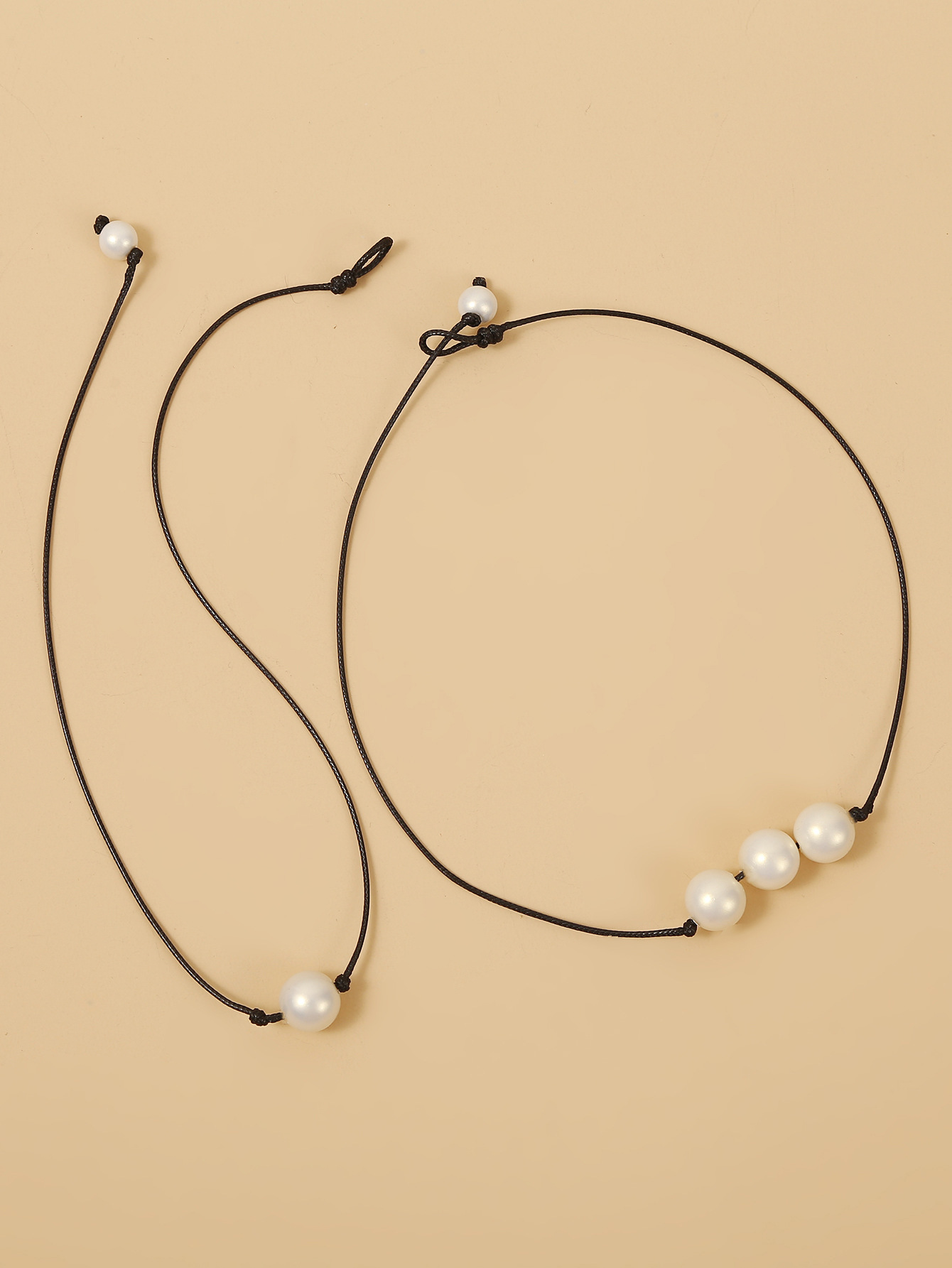 fashion jewelry new accessories pearl wax rope two-piece short necklace wholesale nihaojewelry  NHJJ225342