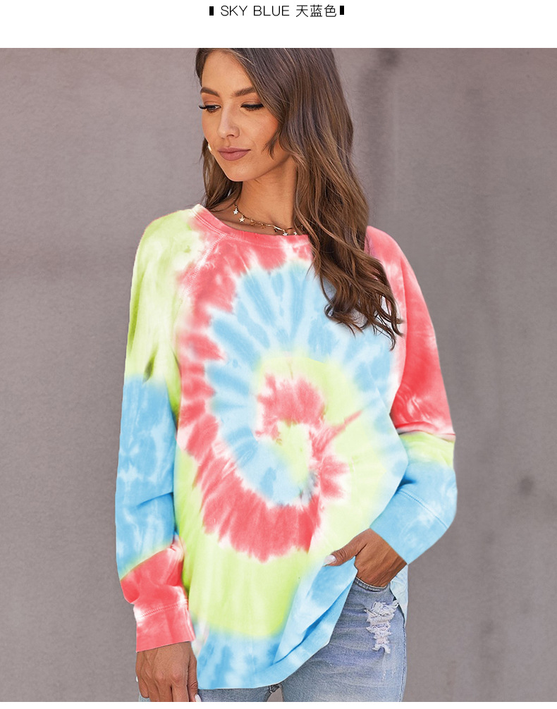 long spring and autumn casual irregular tie-dye printing round neck ladies top sweater NSSI2543