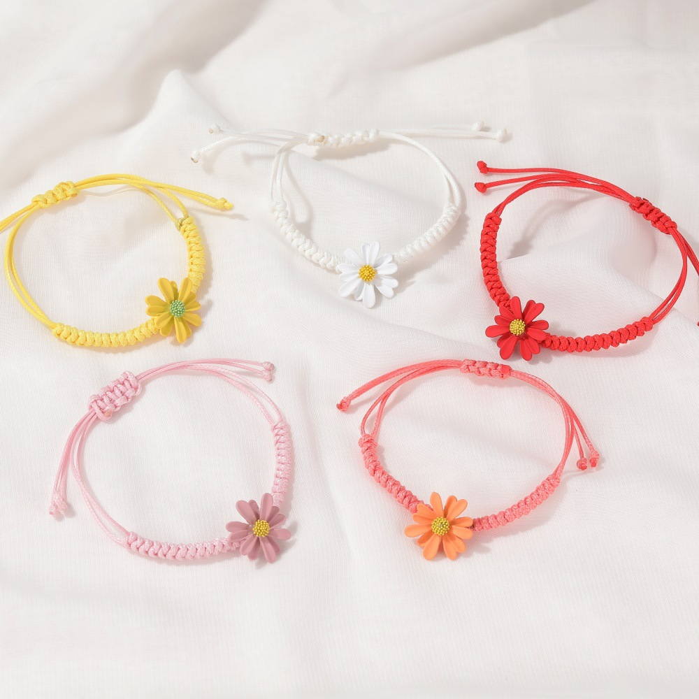 simple small daisy Korean hand-woven red rope students alloy bracelet NHDP240746