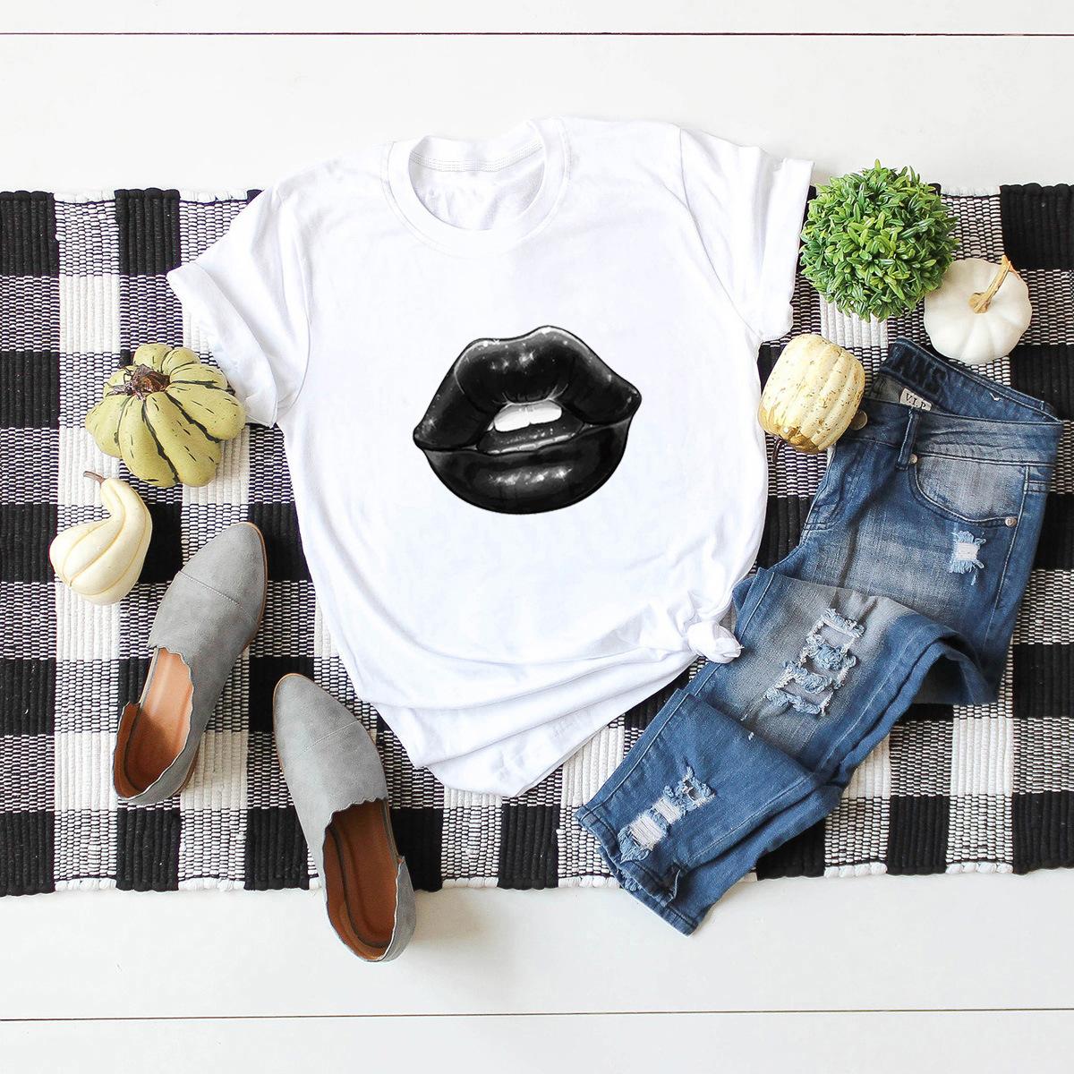 summer hot sale short-sleeved blouse sexy lips T-shirt  NSSN377