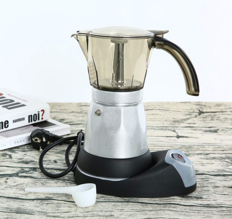 欧插电咖啡器具办公用咖啡壶意式咖啡机便捷式铝制电动摩卡壶美插