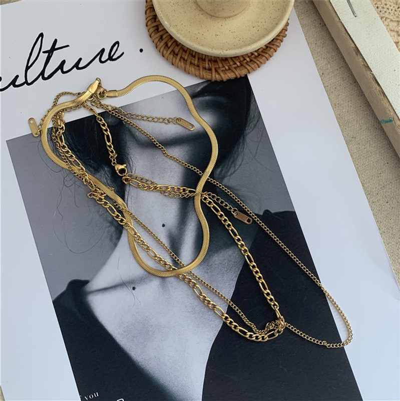 simple multi-layer  clavicle chain Non-fading whole body stainless steel suit necklace for women NHYQ249480