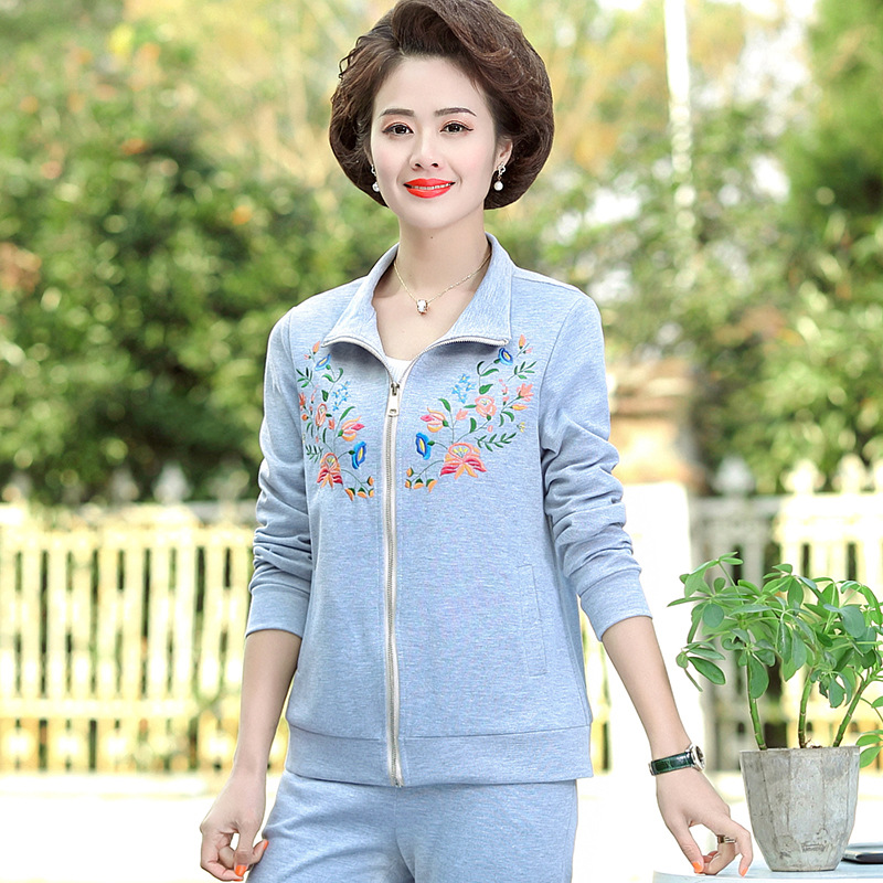 Middle aged and elderly women's spring long sleeve suit mother's spring and autumn leisure two piece cardigan thin 2020 new style