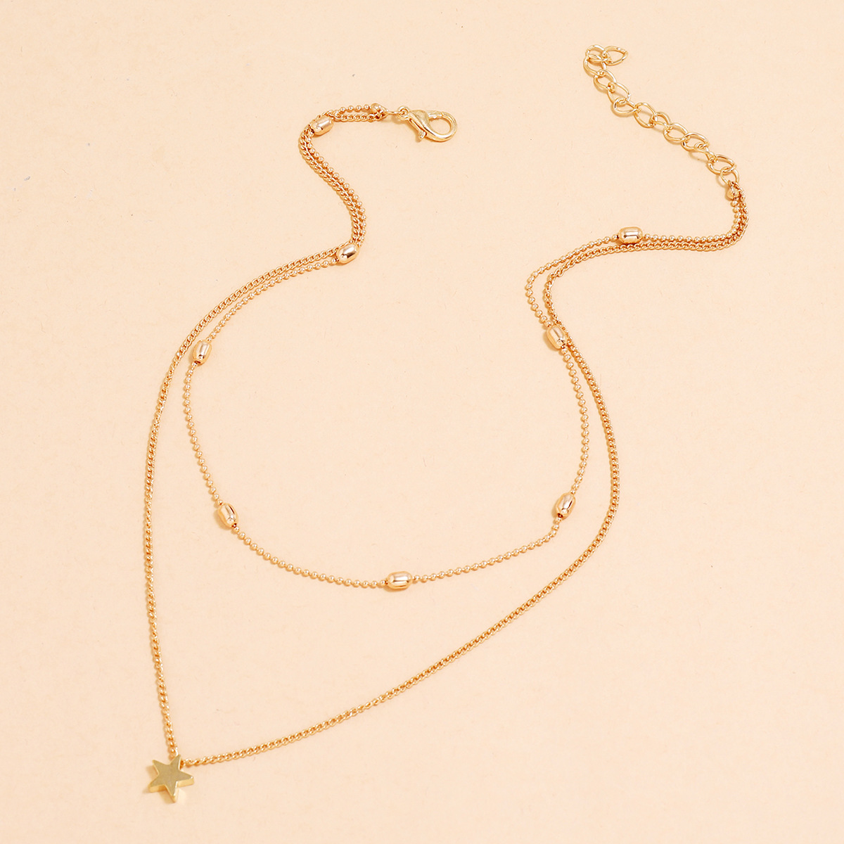Simple Double-Layer Clavicle Necklace Star-Shaped Pendant Necklace  NHPV263720