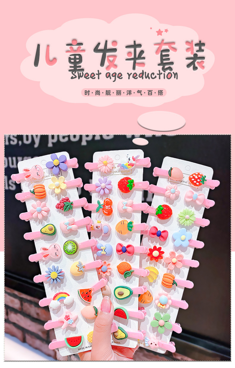Candy-colored resin children's hair clip cute bow fruit hairpin baby girl bangs clip hair accessories wholesale nihaojewelry NHNA223592