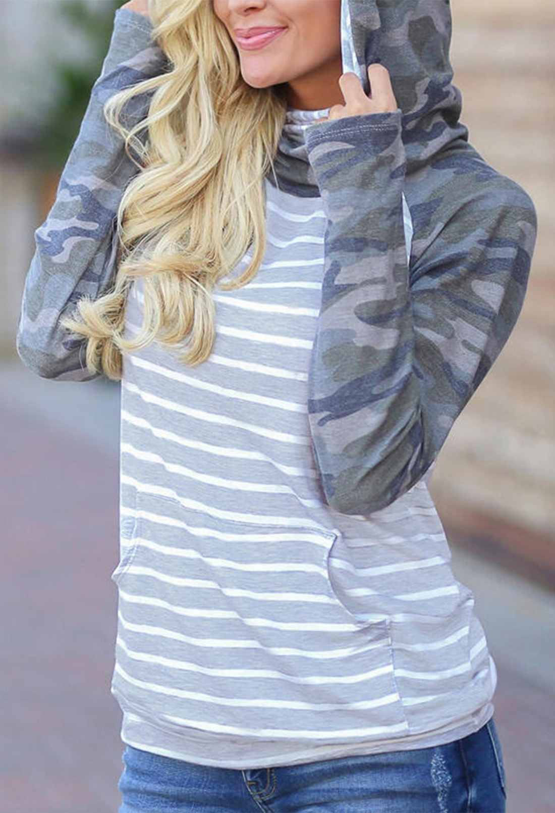 women's autumn new style camouflage color matching long-sleeved pile collar hooded ladies sweater  NSSI2710