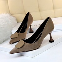 282 - A1 han edition retro cat with suede shallow mouth pointed sexy show thin pedicure pure color round buckle high documentary shoes