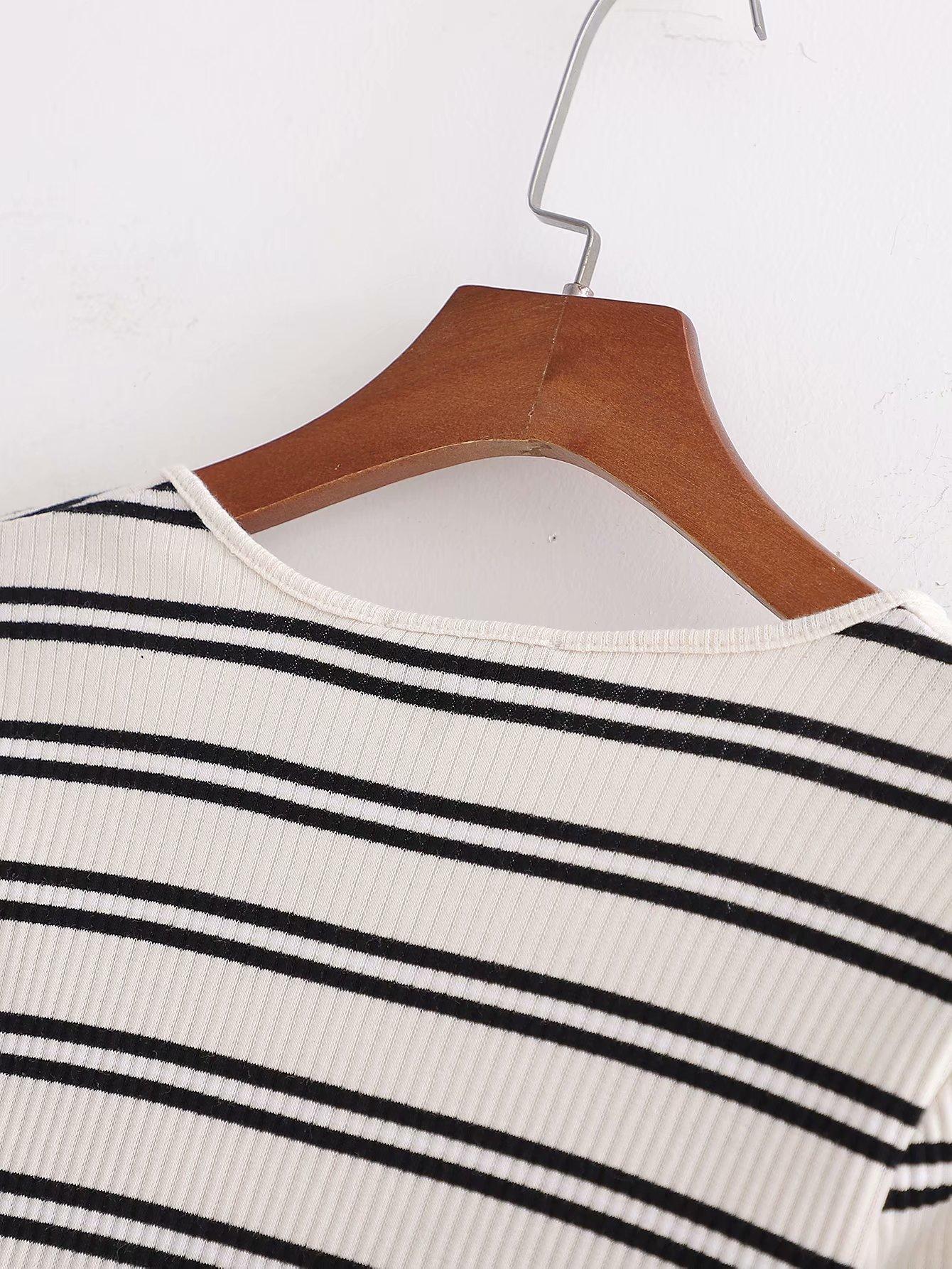 New Fashion Spring Butterfly Festival Women's Striped T-Shirt Top NHAM204805