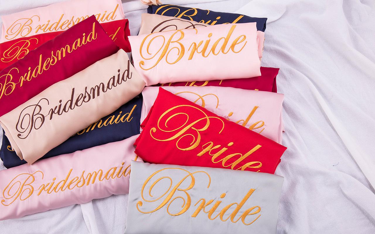 Satin pajamas bride robe bridesmaid robe embroidery wedding bathrobe robe wedding gift wholesale nihaojewelry NHJO234938