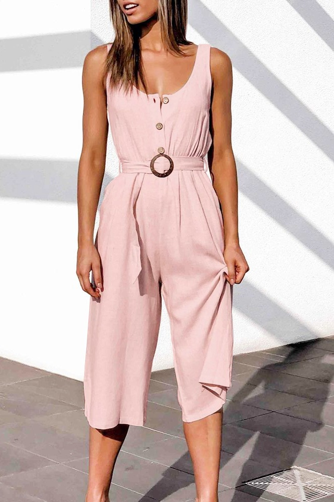 summer new U-neck single-breasted all-match cropped jumpsuit  NSYD3866