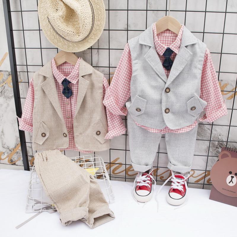 Children's suit suit boy spring handsome dress boy British casual coat foreign style small suit three piece suit