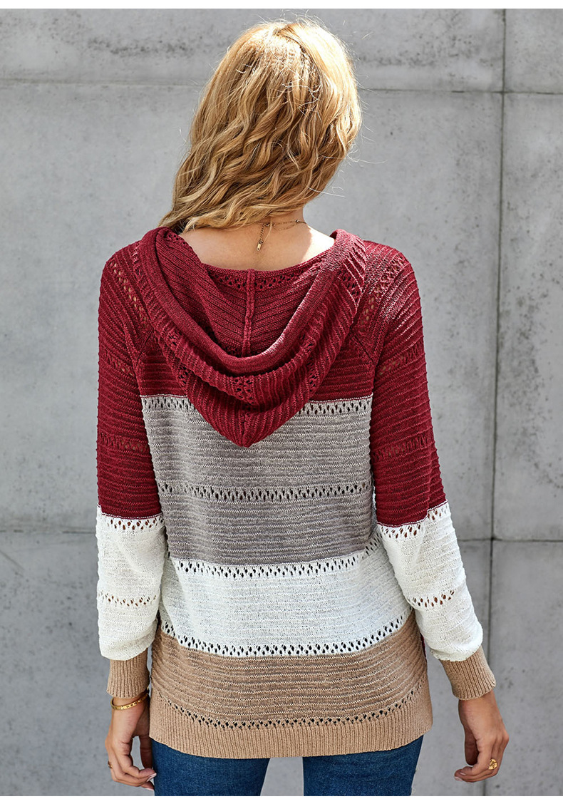 women long-sleeved loose fashion colorful striped pullover knitted hooded sweater NSSI2391