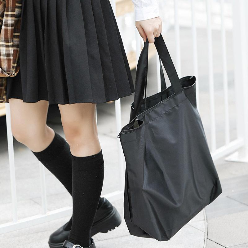 大号环保手提袋日式单肩购物袋尼龙布纯色可折叠大众买菜包brj