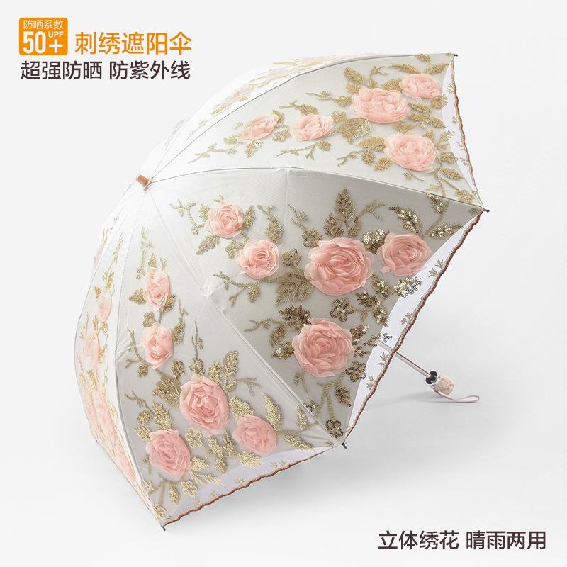 新防曬防紫外線黑膠遮陽傘二折蕾絲刺繡太陽傘公主傘晴雨傘女洋傘