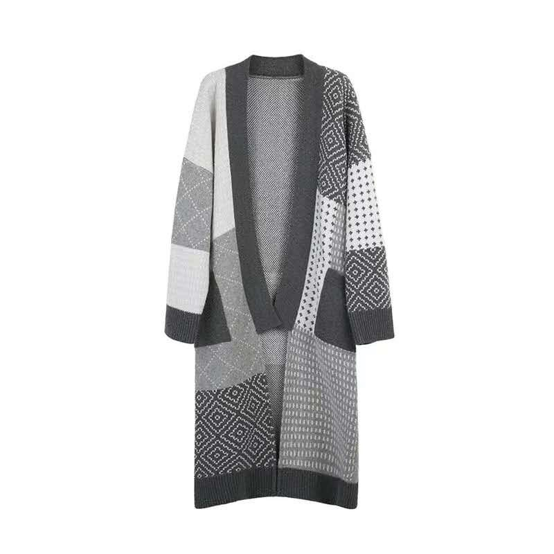 Winter knee-high knitted cardigan loose contrast jacquard mid-length thickened sweater coat wholesale nihaojewelry NHYF239007