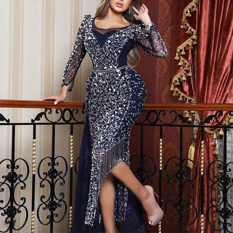 Spring and summer 2020 new European and American foreign trade women's fast selling independent station long sleeve Sequin big swing Dress NEW