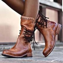 40-43大码女靴跨境外贸20年秋冬季低跟方跟铆钉中筒骑士靴女