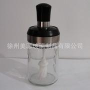 厂家供应250克 防潮勺盖一体调味罐多功能木刷蜂蜜瓶  密封蜂蜜罐