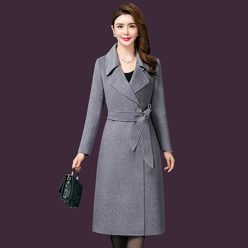 2020新款冬季毛呢外套气质优雅保暖女士外套大衣中长款一件代发