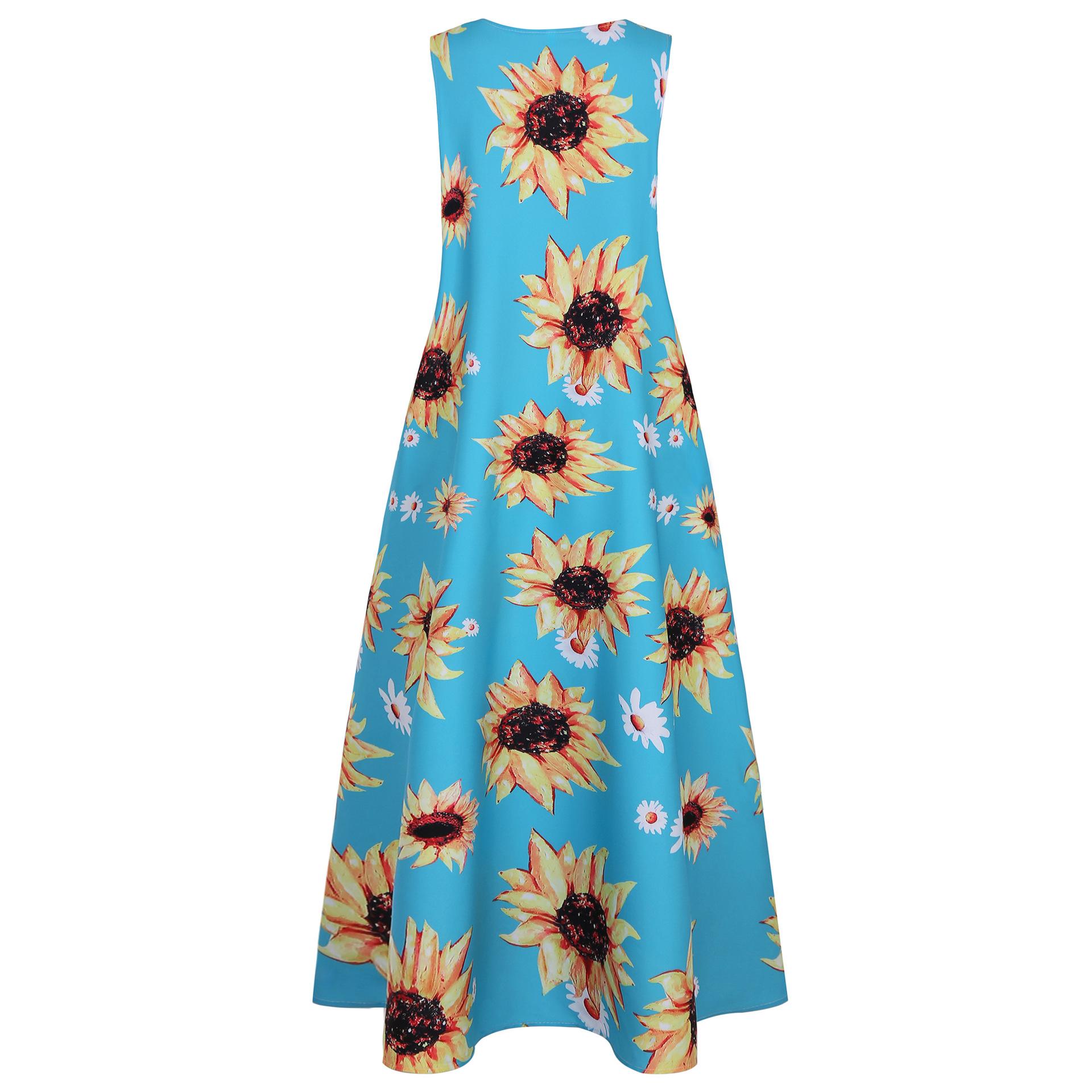 new fashion new sunflower print dress sleeveless long dress NSYF1141