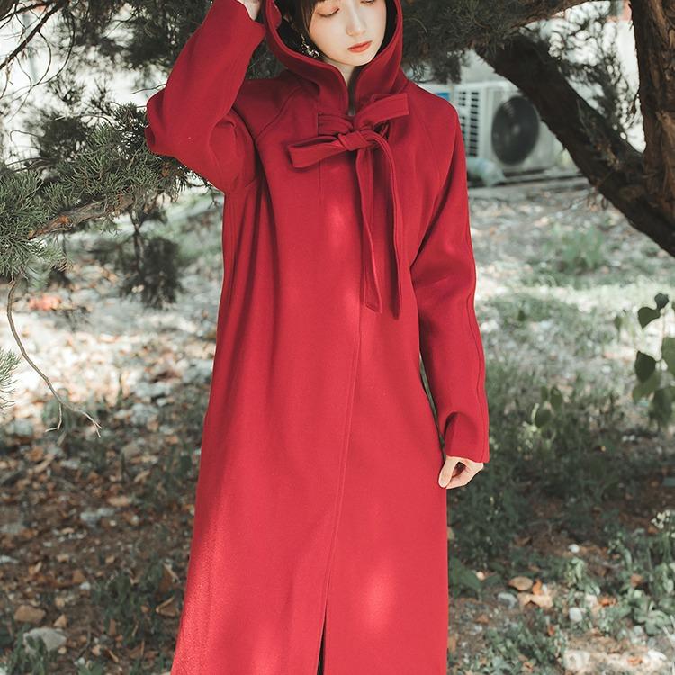 秋冬毛呢斗篷外套复古英伦风宽松中长款红色加棉加厚茧型连帽大衣