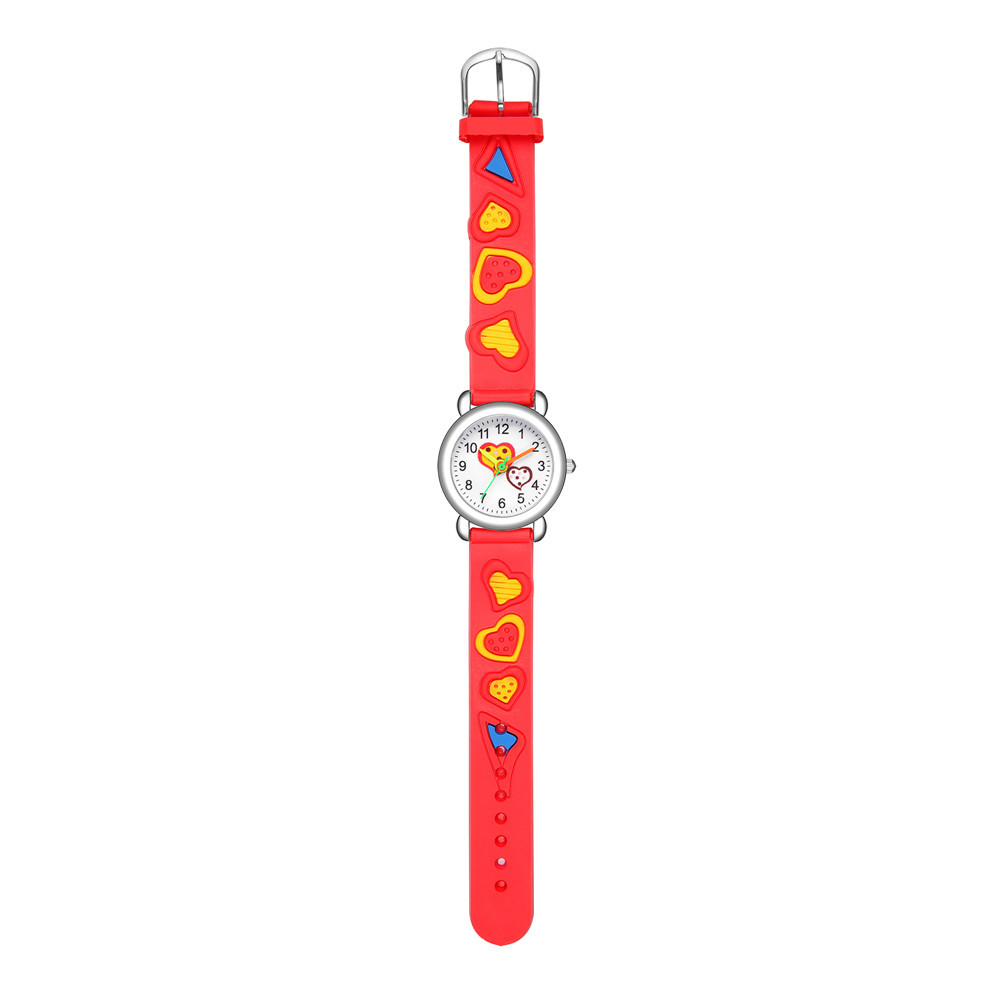 Children's cartoon watch embossed peach heart plastic band student watch wholesale NHSS200490