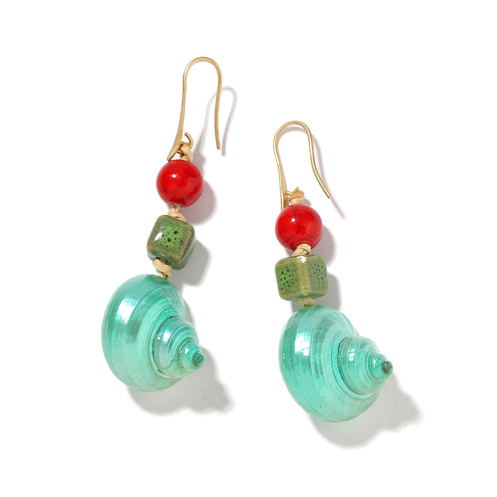 nihaojewelry wholesale conch stone beads earrings fashion holiday style earrings NHJQ213463