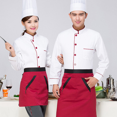 Chef overalls Chef work clothes men long sleeve catering work clothes customized chef clothes kitchen men and women top coats